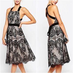 ASOS PETITE Premium Eyelash Lace Midi Formal Dress